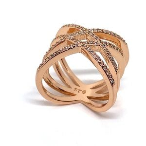 Jewelry - Crisscross Double Diamond and Rose Gold Ring